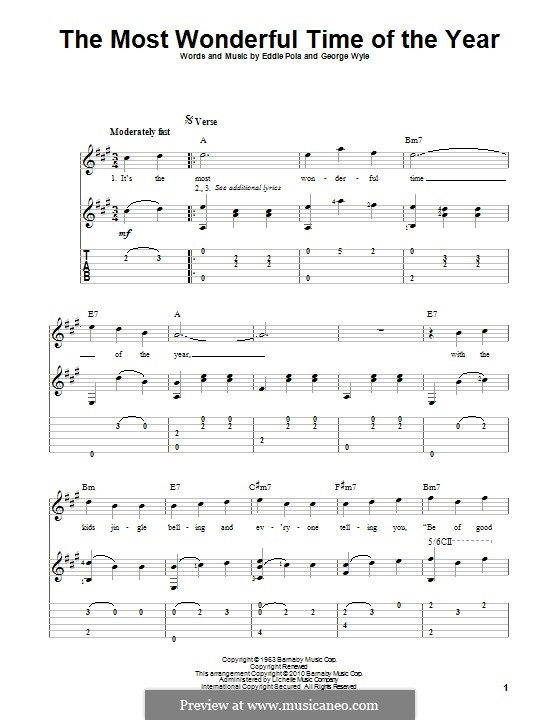 The Most Wonderful Time of the Year: For guitar with tab by George Wyle, Edward Pola