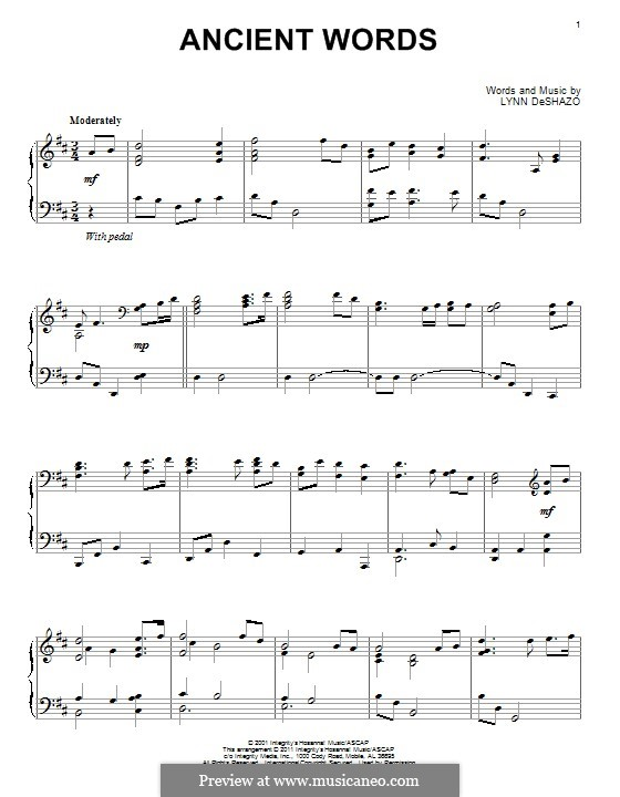 Ancient Words: For piano by Lynn DeShazo