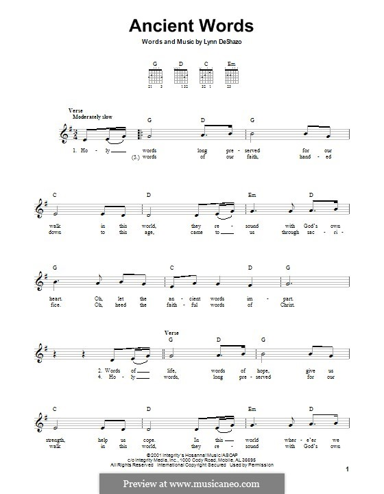 Ancient Words: For guitar with tab by Lynn DeShazo