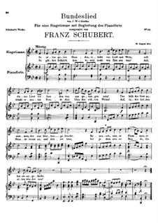 Bundeslied (Song of Fellowship): B flat Major by Franz Schubert