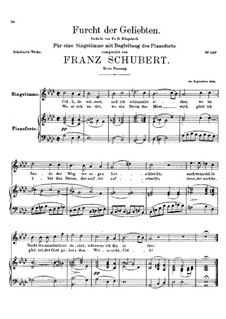 Furcht der Geliebten (An Cidli), D.285: First version by Franz Schubert