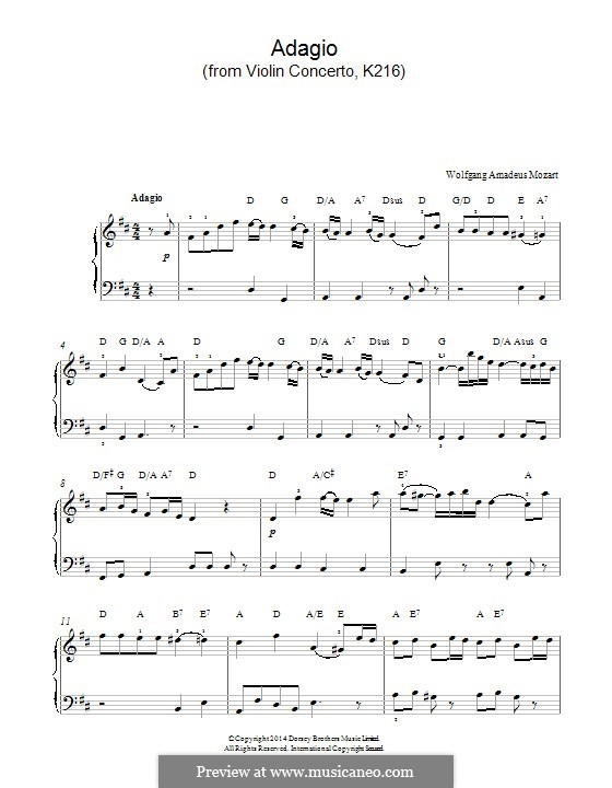 Concerto for Violin and Orchestra No.3 in G Major, K.216: Adagio (fragment). Version for piano by Wolfgang Amadeus Mozart