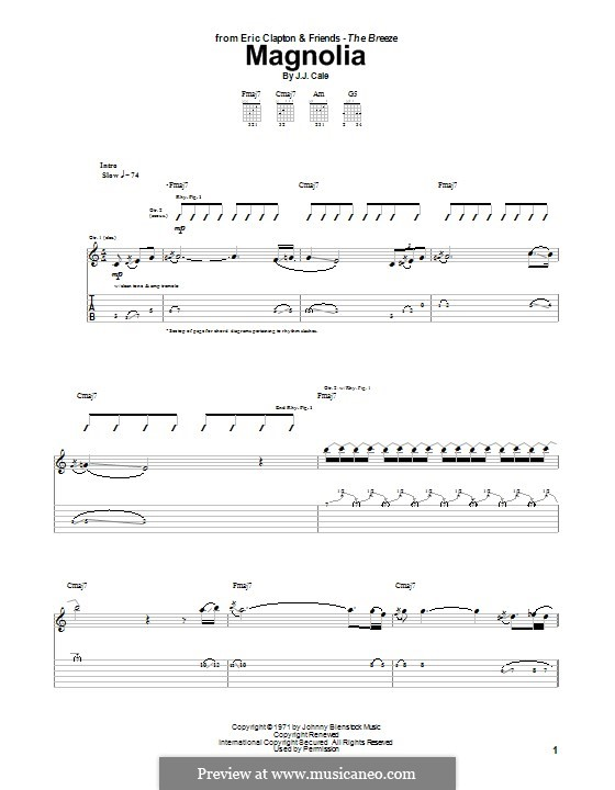 Magnolia By J Cale Sheet Music On Musicaneo