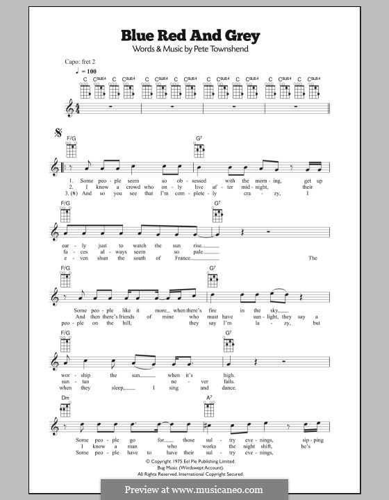 Blue, Red and Grey (The Who) by P. Townshend - sheet music on MusicaNeo