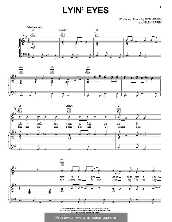 Lyin\' Eyes (The Eagles) by D. Henley, G. Frey - sheet music on MusicaNeo