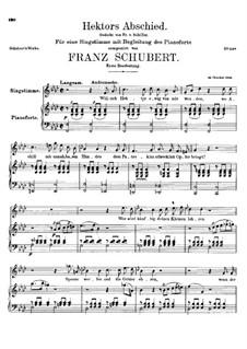 Hektors Abschied (Hector's Farewell), D.312 Op.58 No.1: First version by Franz Schubert