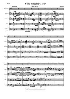 Concerto for Cello and Orchestra No.1 in C Major, Hob.VIIb/1: Score and all parts by Joseph Haydn