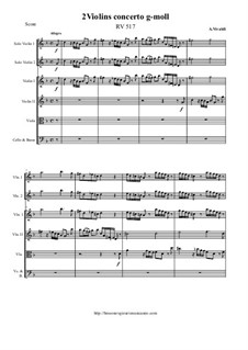 Concerto for Two Violins and Strings in G Minor, RV 517: Score and all parts by Antonio Vivaldi