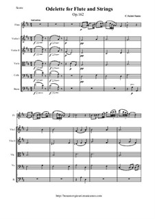 Odelette, Op.162: For flute and string orchestra arranged - score and all parts by Camille Saint-Saëns