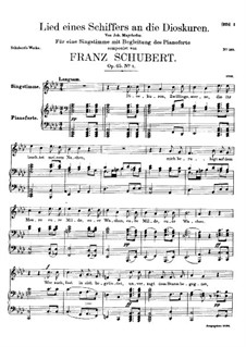 Lied eines Schiffers an die Dioskuren (Boatman's Song to the Dioscuri), D.360 Op.65 No.1: For high voice and piano by Franz Schubert