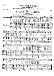 Der König in Thule (The King in Thule), D.367 Op.5 No.5: For high voice and piano by Franz Schubert
