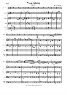 Waltz-Scherzo for Violin and Orchestra, TH 58 Op.34: Score and parts by Pyotr Tchaikovsky