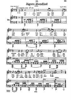 Huntsman's Evening Song, D.368 Op.3 No.4: For low voice and piano by Franz Schubert