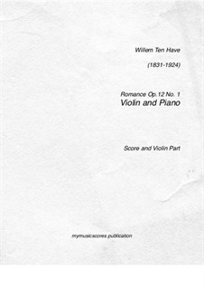 Romance for Cello and Piano, Op.12 No.1: Score, solo part by William ten Have