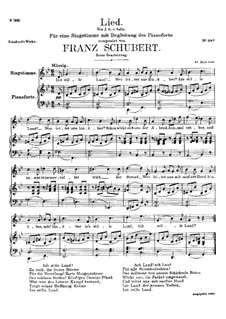 Song for Voice and Piano, D.403: First version by Franz Schubert