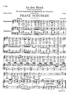 An den Mond (To the Moon), D.468: A Major by Franz Schubert