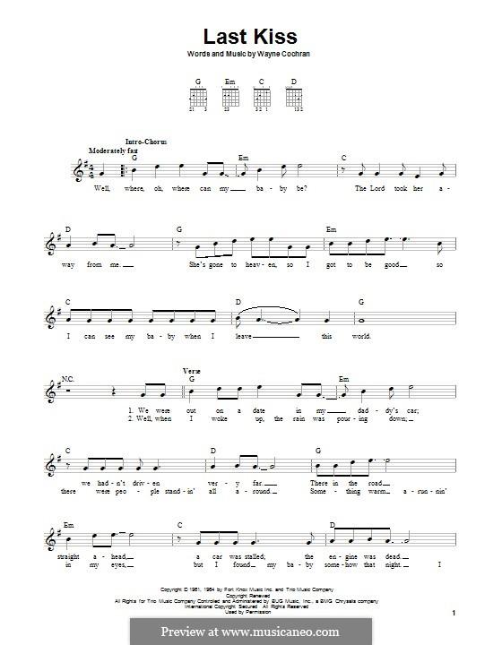 Last Kiss (J. Frank Wilson): For guitar with tab (Pearl Jam) by Wayne Cochran