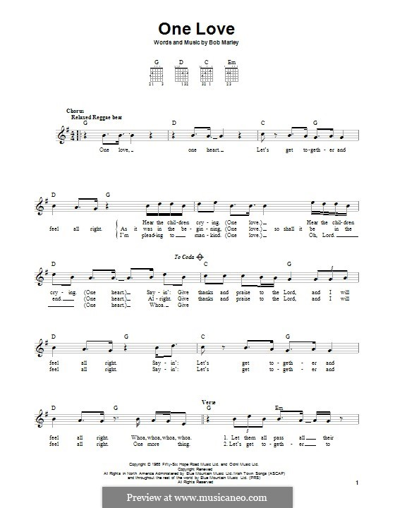 One Love: For guitar with tab by Bob Marley
