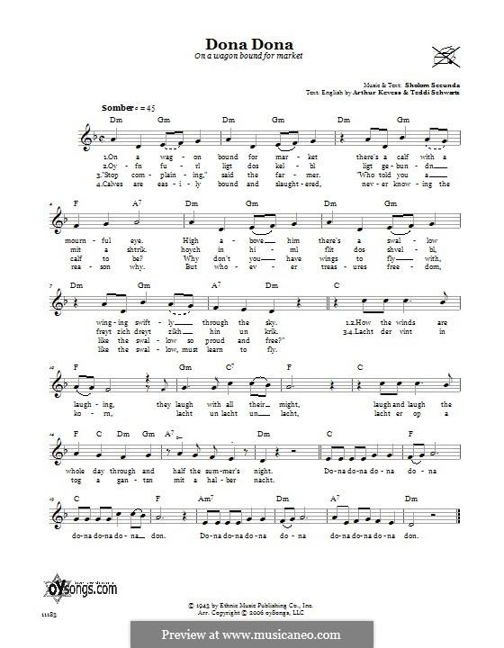 Dona Dona (On a Wagon Bound for Market): Lyrics and chords by Sholom Secunda, Arthur Kevess, Teddi Schwartz