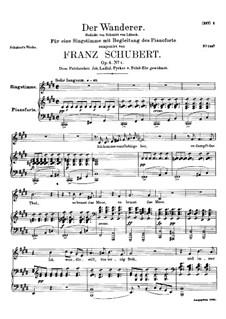 The Wanderer, D.493 Op.4 No.1: Piano-vocal score by Franz Schubert
