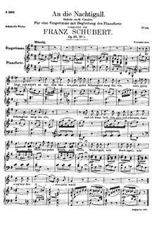 An die Nachtigall (To the Nightingale), D.497 Op.98 No.1: For high voice and piano by Franz Schubert