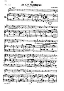 An die Nachtigall (To the Nightingale), D.497 Op.98 No.1: For low voice and piano by Franz Schubert