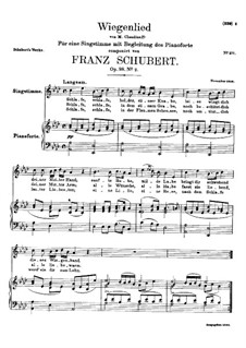 Wiegenlied (Cradle Song), D.498 Op.98 No.2: For high voice and piano by Franz Schubert