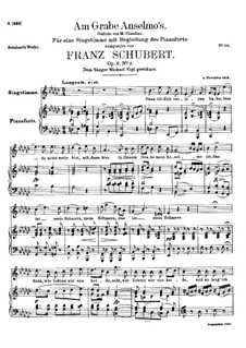Am Grabe Anselmos (At Anselmo's Grave), D.504 Op.6 No.3: For high voice and piano by Franz Schubert