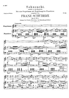 Sehnsucht (Longing), D.516 Op.8 No.2: For high voice and piano by Franz Schubert