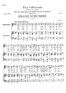 Pax Vobiscum (Peace Be with You), D.551: For high voice and piano by Franz Schubert