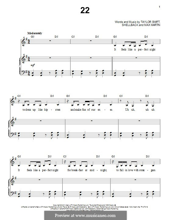 22: For voice and piano by Taylor Swift