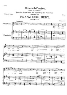 Himmelsfunken (Intimations of Heaven), D.651: For high voice and piano by Franz Schubert