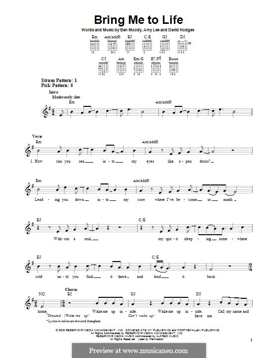 Bring Me to Life (Evanescence): For guitar with tab by Amy Lee, Ben Moody, David Hodges