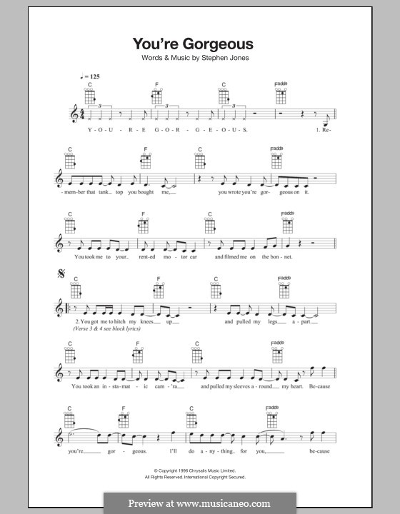 You're Gorgeous (Babybird): For ukulele by Stephen Jones