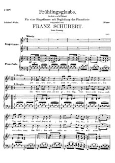 Frühlingsglaube (Faith in Spring), D.686 Op.20 No.2: First version by Franz Schubert