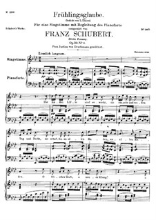 Frühlingsglaube (Faith in Spring), D.686 Op.20 No.2: German text by Franz Schubert