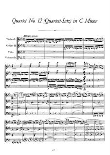 String Quartet No.12 in C Minor, D.703: Full score by Franz Schubert