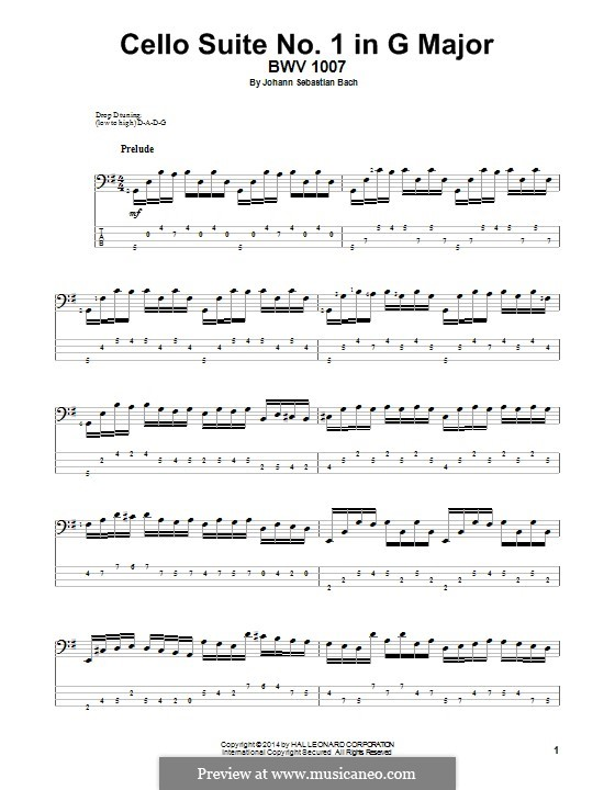 Suite for Cello No.1 in G Major, BWV 1007: For bass guitar with tab by Johann Sebastian Bach