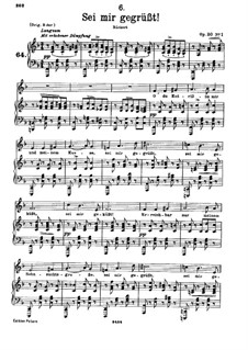 Sei mir gegrüsst (I Greet You), D.741 Op.20 No.1: For low voice and piano by Franz Schubert