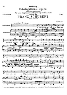 Schatzgräbers Begehr (The Treasure-Hunter's Desire), D.761 Op.23 No.4: Second version by Franz Schubert