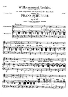 Willkommen und Abschied, D.767 Op.56 No.1: Second version by Franz Schubert