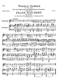 Wanderer's Night Song II, D.768 Op.96 No.3: For high voice and piano by Franz Schubert