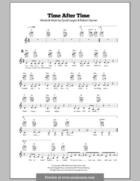 Time after Time: For ukulele by Cyndi Lauper, Robert Hyman