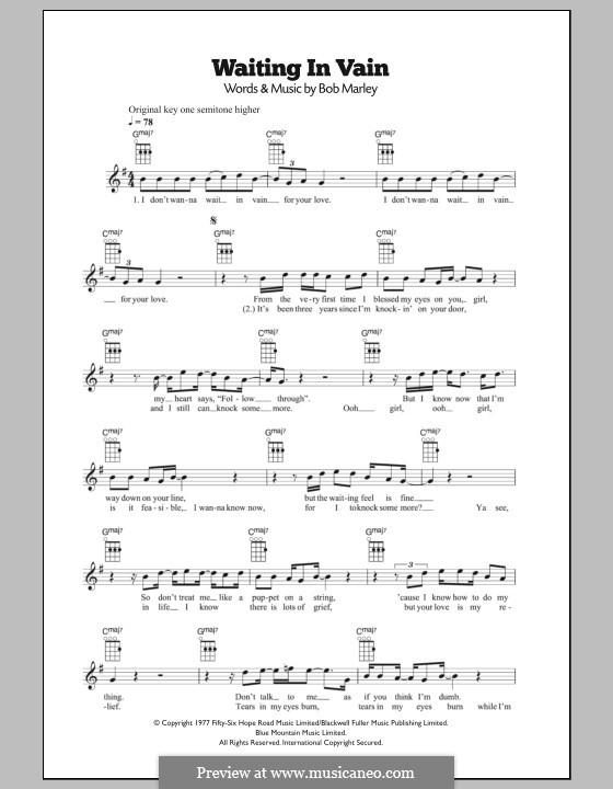Waiting in Vain: For ukulele by Bob Marley