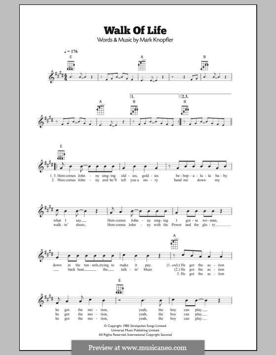 Walk of Life (Dire Straits): For ukulele by Mark Knopfler