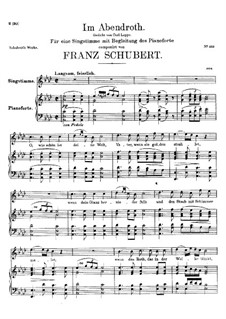 Im Abendrot (In the Glow of Evening), D.799: For high voice and piano by Franz Schubert