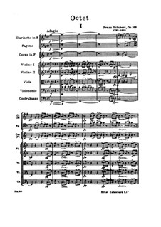 Octet for Strings and Winds in F Major, D.803 Op.166: Full score by Franz Schubert
