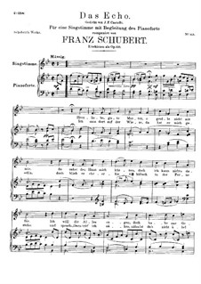 Das Echo (The Echo), D.868 Op.130: For high voice and piano by Franz Schubert