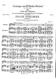 No.3 Song of Mignon: B Major by Franz Schubert