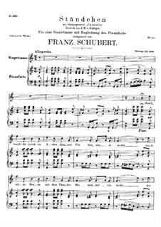 Serenade 'Horch, horch die Lerch im Ätherblau', D.889: For high voice and piano by Franz Schubert